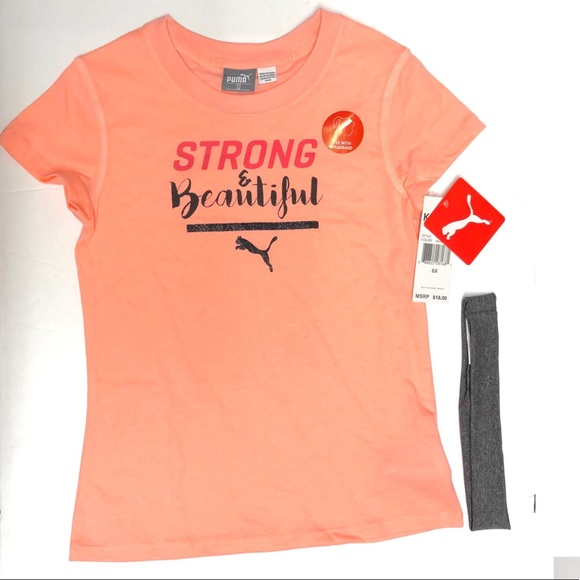 Puma Other - NWT Puma Girls Strong & Beautiful Graphic Tee 6X